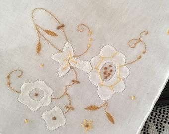 Vintage Ladies Handkerchief~ Ladies Hankie ~ White with Golden Yellow Floral Design