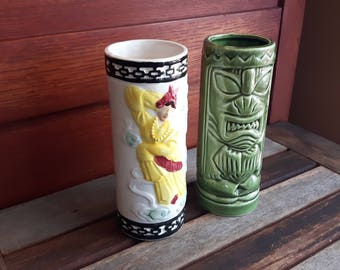 Vintage Pair of Orchids of Hawaii Tiki Mugs / Tiki Verres à boisson Orchids of Hawaii R-5 et R-93 Japan