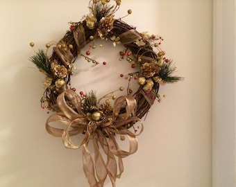 Christmas Grapevine Wreath, Christmas Wreath, Gold Christmas Wreath, Gold Christmas Front Door  Wreath, Grapevine Wreath, Front Door Wreath