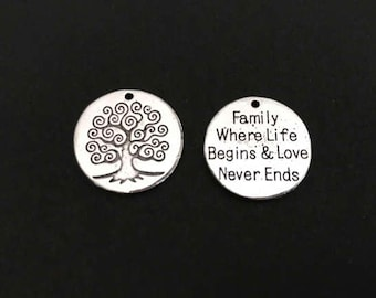 Family Tree Charm. Lot of 1 / 5 / 10 / 20 / 30 Pcs Silver Plated Word Charms. Family, Where Life Begins & Love Never Engs.DIY Craft Supplies