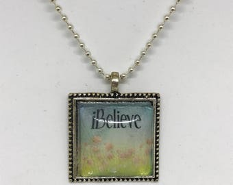 "Silver Necklace ""Believe"", 24"" Chain"
