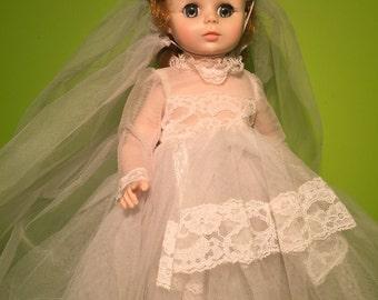 """1960s Elise Bride 14"""" Vintage Madame Alexander Doll Strawberry Blonde"""