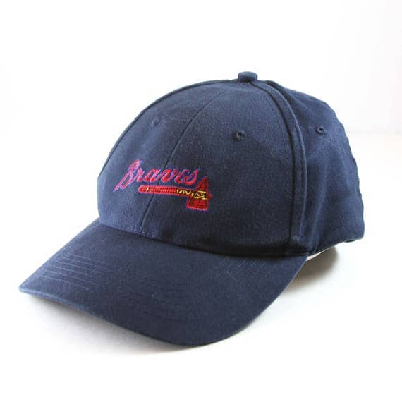 tomahawk baseball hat braves cap navy blue stadium giveaway lucky brand