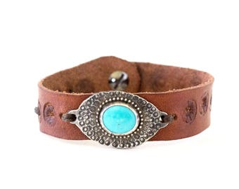 Turquoise and Floral Embossed Leather Cuff #3