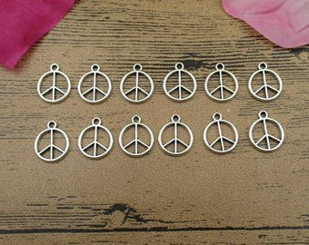 50 Peace Charms,Antique Silver Tone,Round Tag-RS528