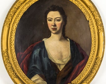 B640A 18th Century Portrait of a Young Woman in Oval Frame, English School (1720)