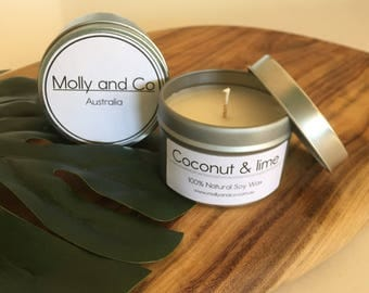 Coconut and Lime - Natural Soy - Scented Candle in 4oz travel tin