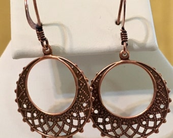 Round Filagree Antiqued Copper Plated Brass Earring