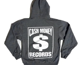 Cash Money Records Mid Weight Pullover Hoodie Heather Charcoal | Front and Back Print S-3XL