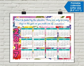 """Printable 2017 Calendar. US Letter Size, 8.5""""x11"""". Floral, pink and aqua. Inspirational quote quick reference calendar. Instant download."""