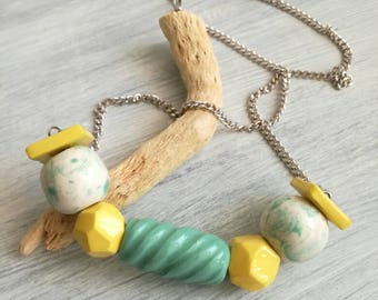 Ceramic beads necklace white teal, lemon yellow
