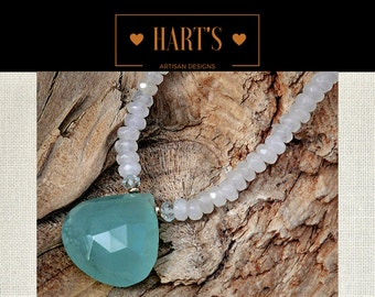 Aquamarine Teardrop Gemstone Sterling Silver Necklace