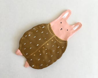 Bunny in a big coat Tray, Ring dish, Jewelry Holder, Home Decor