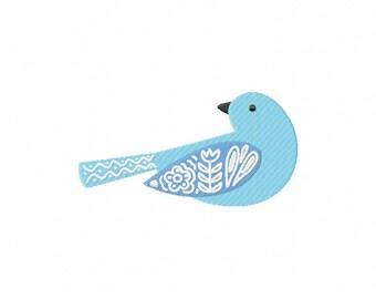 Folk blue bird embroidery design, folk bluebird embroidery design