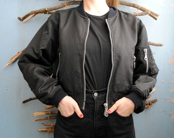 Vintage two colour bomber jacket Black and Red 1960s womens jacket Wonder Woman