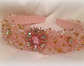 Crystal Headband Bridal Crown Crystal Crown Bridal Hair Piece Pink Crystal Headband Crystal Tiara Bridal Headpiece Pearl Headband Pink Tiara