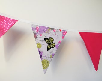 Handmade bunting, butterfly flags, girls room decor, wall hanging, pink decor