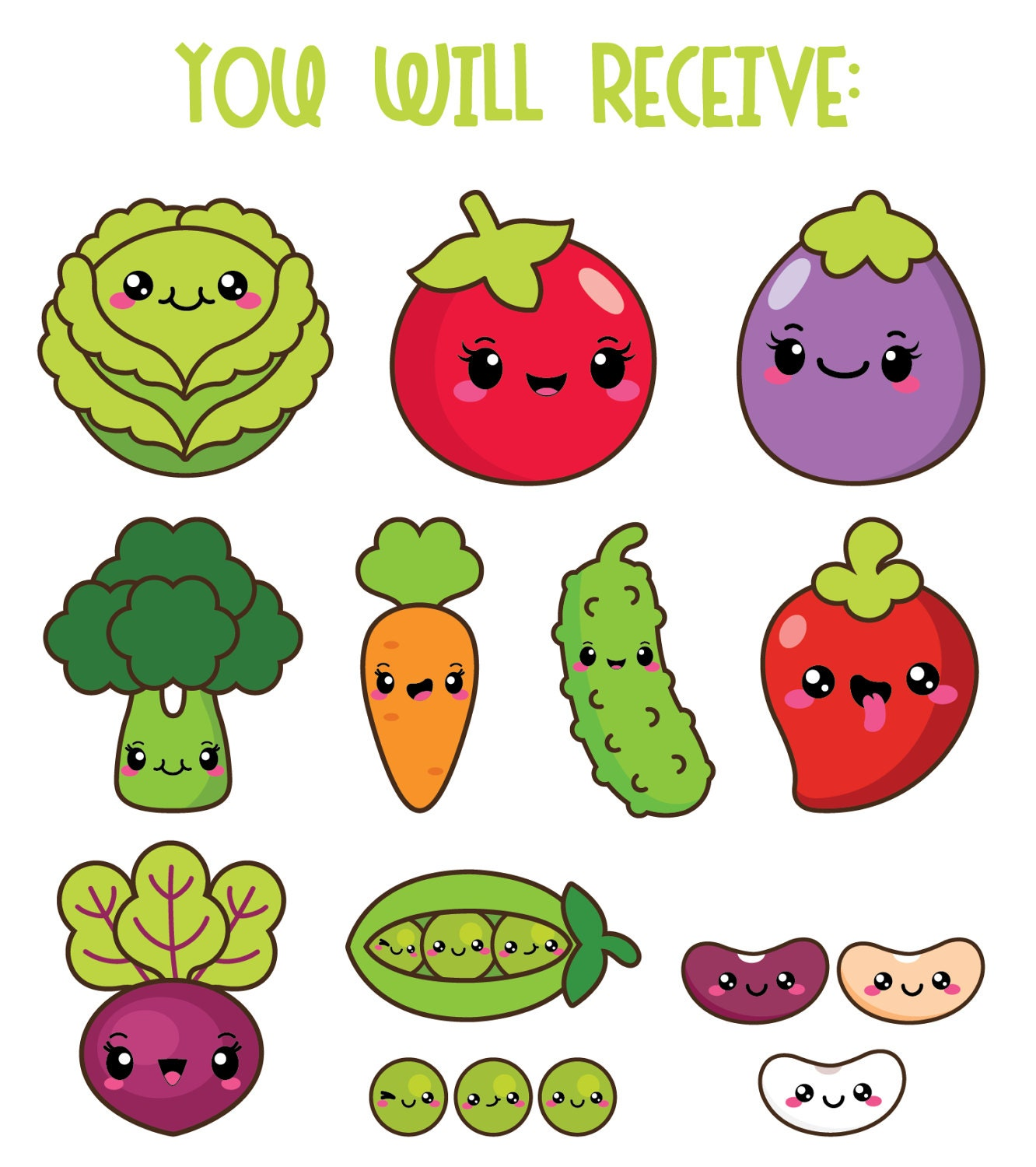 50%OFF Kawaii vegetables clipart kawaii veggies clipart