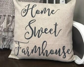 Home Sweet Farmhouse Throw Pillow / Throw pillows / Farmhouse Pillows / Linen Pillow
