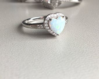 Sterling silver Ring Pressed Opal heart CZ size I