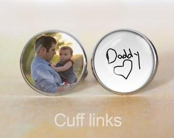 Handwriting, Photo, Cuff Links, Cufflinks, Dad gift, Wedding Present, Bridal Gift