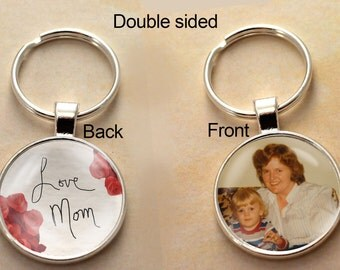 Handwriting, Personalized, Key chain, keychain, Double Sided Charm, Memory Charm, Remembrance, Memorial