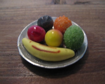 For the dollhouse: Old brass fruit bowl with fruit, 50s ...