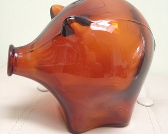 Vintage Cascade Amber Glass Piggy Bank - Large