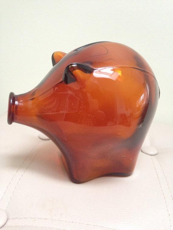 Vintage Cascade Amber Glass Piggy Bank Large