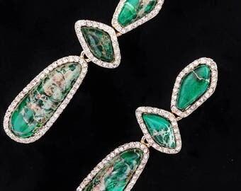 Green variscite drop earrings