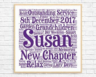 Personalized RETIREMENT GIFT ~ Word Art ~ Printable Gift ~ Retirement Gift  For Woman ~ Retirement