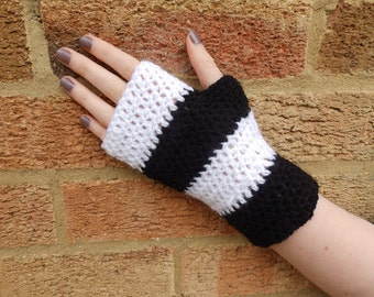 Black and White Fingerless Gloves