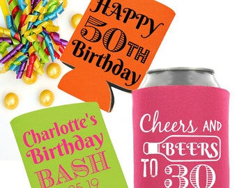 Party Favor Can Coolers, Custom Party Favors, Birthday Party Favors, Cheers and Beers, Pink Party Favors, Can Coolers, Custom Printed Favors