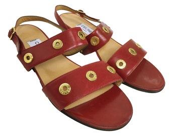 Celine 80's-90's vintage leather flat sandal