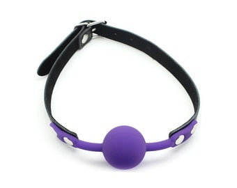 Silicone Ball Gag, BDSM, Leather Belt and restraints (mature)