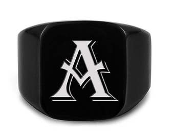 Laser Engraved Signet Ring Black with Initial or Custom Logo