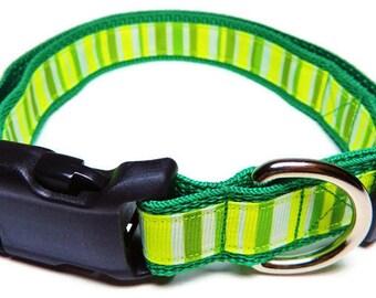 Large Green/White Stripes Dog Collar