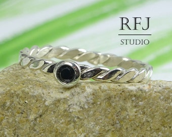 Flat Braided Lab Black Diamond Silver Ring, Cubic Zirconia 2 mm Sterling Flattened Twisted Ring Black Diamond Flat Rope Ring 925 Silver Ring