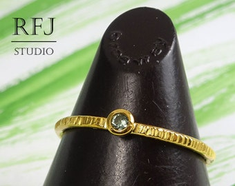 October Birthstone Tourmaline Gold Ring, Textured Light Green  2mm CZ Yellow 24K Gold Plated Ring, October Jewelry, Gold Plated CZ Ring