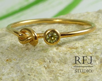 14K Rose Gold Plated Knot Lab Citrine Ring, November Jewelry, Yellow CZ 2mm Friendship 14K Gold Plated Ring Simulate Citrine Knot Love Ring