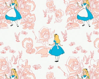 "Disney Fabric- Alice in wonderland - Golden Afternoon Toile In Blush by Camelot 100% cotton Fabric by the yard 36""x44"" (CA290)"