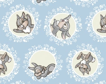 "New Disney Bambi Fabric: Camelot Disney Bambi Forest Friend-Thumper Rabbit in Blue 100% Cotton Fabric by the yard 36""x43"" (CA289)"
