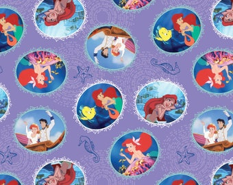 In stock New Cartoon Fabric, Disney Fabric: Disney Princess The Little Mermaid Fairy Tale Ending Scene 100% cotton fabric (SC365)