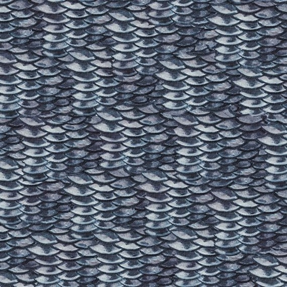Fish scale fabric new reel it in dark blue fish scales by for Fish scale fabric