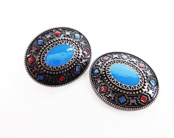 """Two 1-1/2"""" Mr. Saddle Red Blue Navajo Single Post Repair Arts & Crafts Western Cowboy Bridle Concho"""