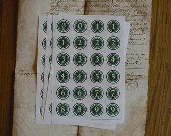 Classiky Green number sticker sheet 18mmD/12mmD