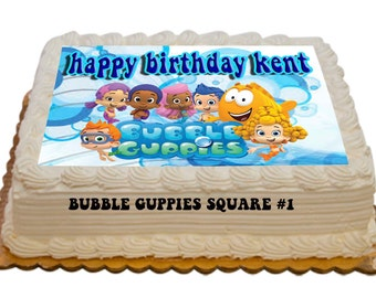 Personalized Bubble Guppies Edible Cake Toppers 8.5x11 inch cake topper Bubble Guppies Birthday Cakes