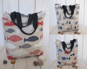 Big maritime canvas tote bag Beach shopping market bag sea life 3 models