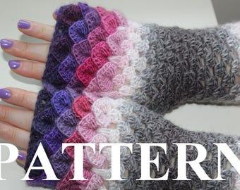 PDF PATTERN long Dragon Gloves Dragon Scale Gloves Fingerless Crocodile Stitch Game of Thrones Arm warmers crochet pattern