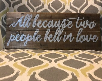 Weddig wooden decor - all because two people fell in love